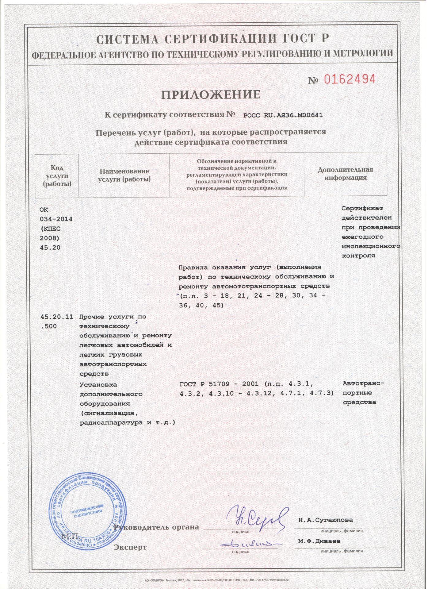 Установка сигнализации Пандора Наши Дипломы и Сертификаты Сертификат ГОСТ до 2020г Серт доп 1 до2020г
